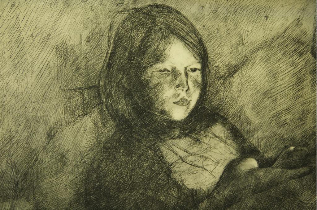 Girl in smartphone light