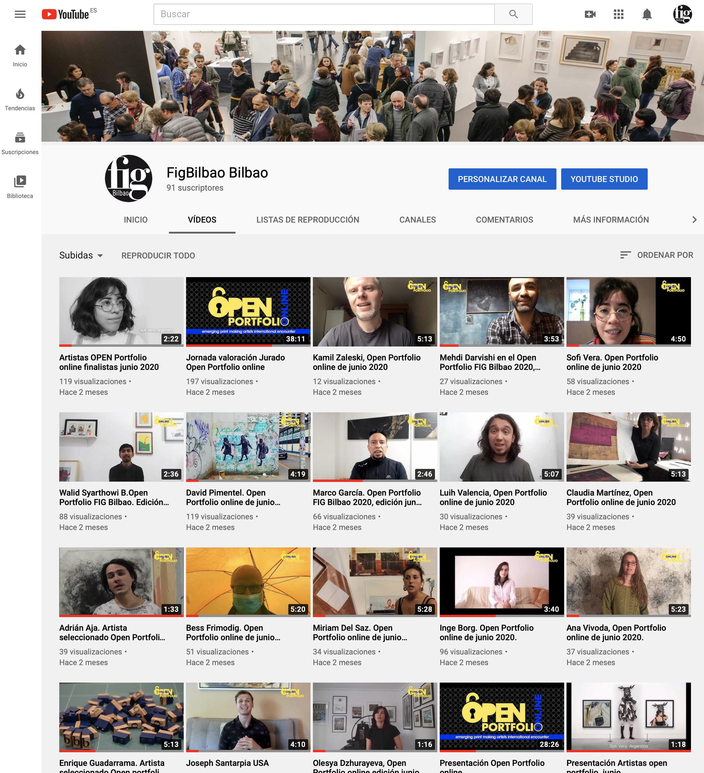 Perfil de youtube de Fig Bilbao